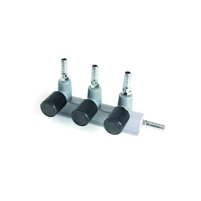 Diviseur chromé avec vanne 9 mm 3 voies 9 mm