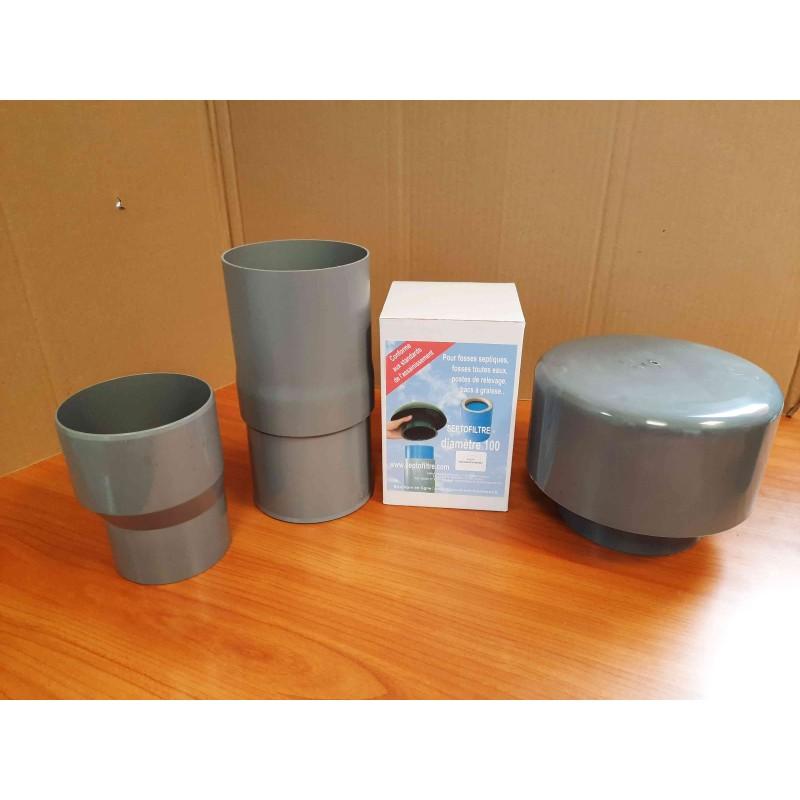 Composants du kit + cartouche anti-odeurs Ø 80