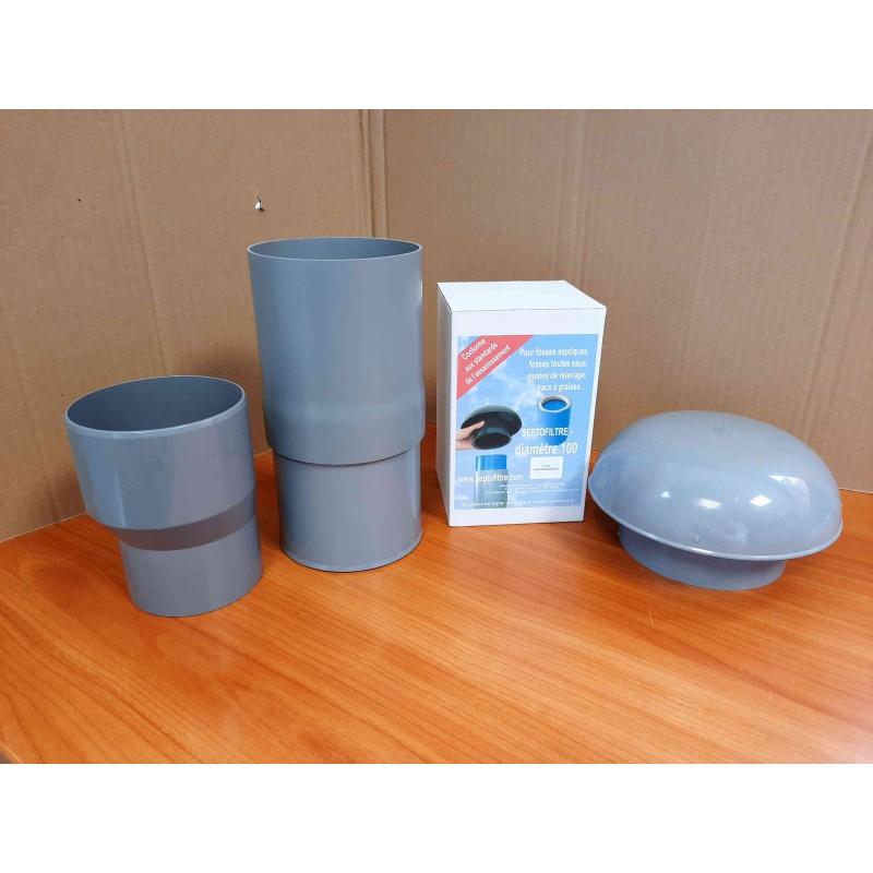 Kit du filtre anti-odeurs avec chapeau rond Ø 80