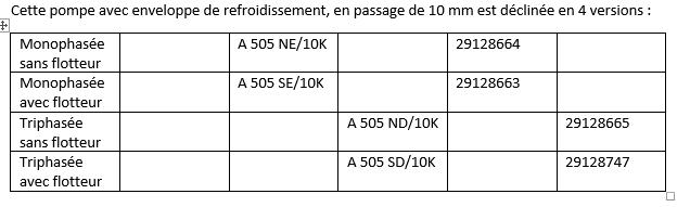 Déclinaisons AMA DRAINER A 505 10K