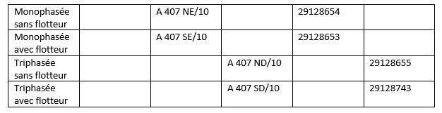 AMA DRAINER A 407 déclinaisons