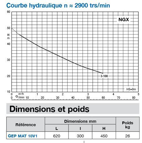 Courbe de la pompe NGXM 3-100