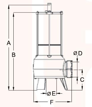 dimensions pompe MR POMPE F.50.150