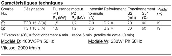 Homa Pompe submersible TGR 15 - caractéristiques