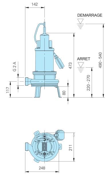 Homa Pompe submersible TGR 15 - encombrement