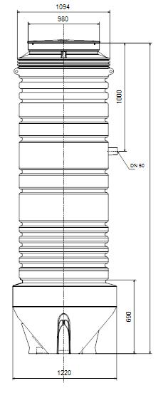 encombrement poste de relevage grundfos PUST10.25