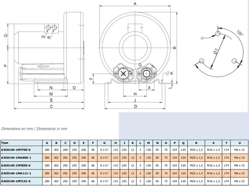 Airtech ASC0140-1M - dimensions