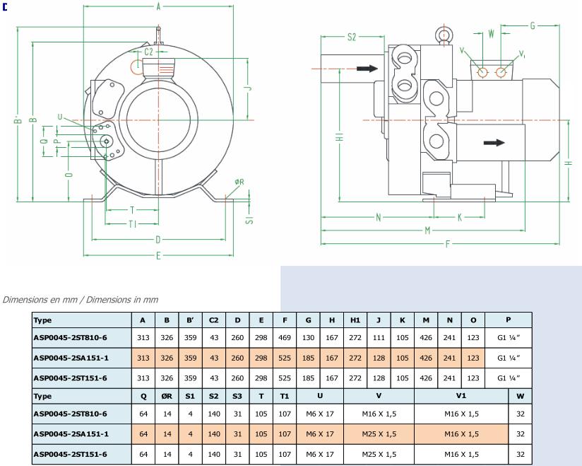 Airtech ASP0045-2S - dimensions