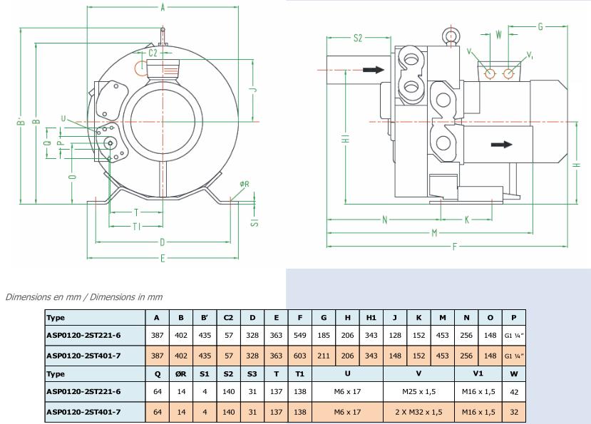 Airtech ASP0120-2S - dimensions