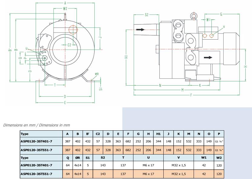 Airtech ASP0120-3S - dimensions