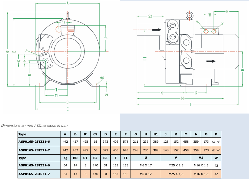 Airtech ASP0165-2S - dimensions